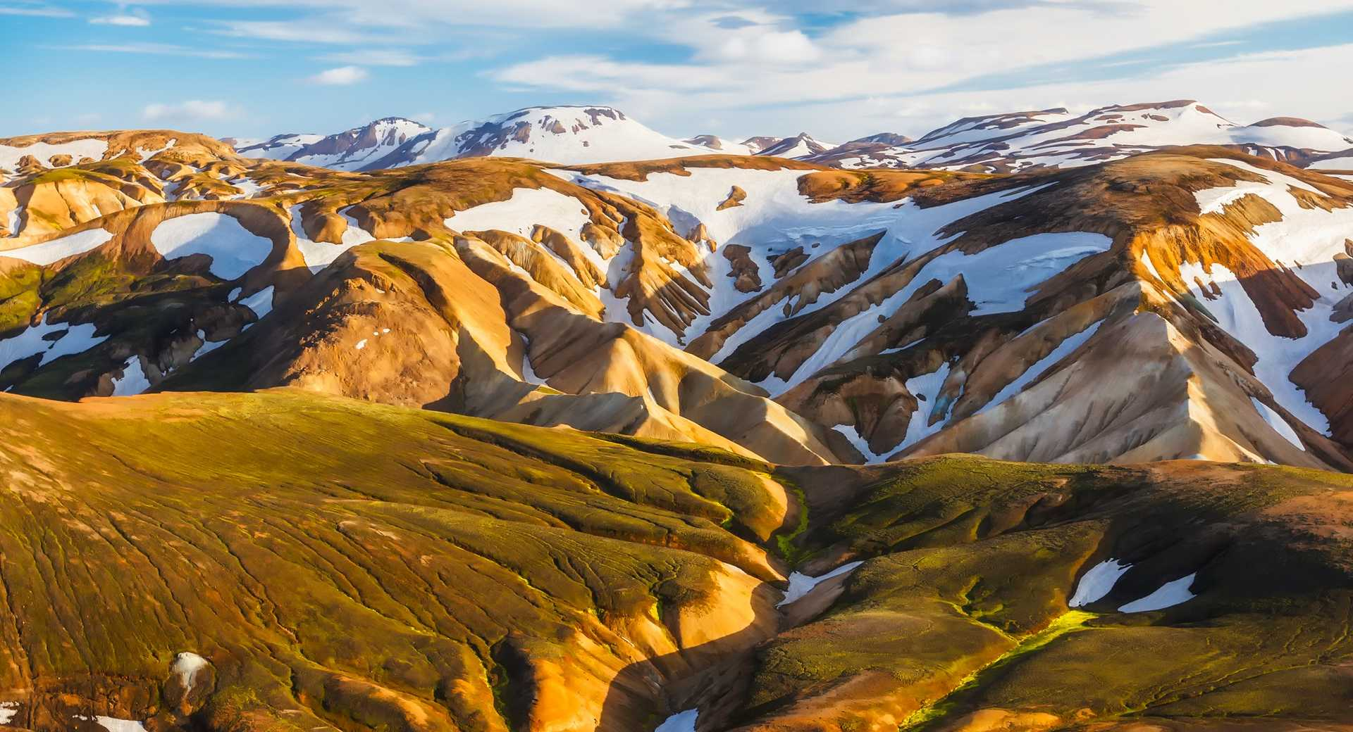 Paysage de montagnes en Islande, massif de Kerlingarfjöll