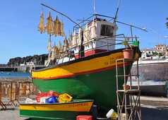Bateau de pêche coloré à Madère