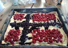 Dessert norvégien au drapeau de Norvège