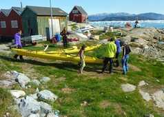 Kayak vers la ville de Ilulissat au Groenland