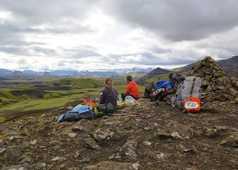 Pause déjeuner, trek dans la réserve de Fjallabak en Islande