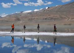 Randonneurs sur le sel du lac Tso Kar
