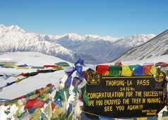 Sommet du col de Thorong, sur le tour des Annapurnas