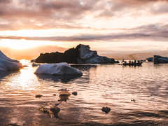 Zodiac en Islande sur la lagune glaciaire de Jokulsarlon