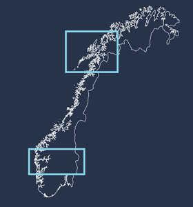 Carte de la Norvège, Nord et Sud