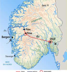 Carte de voyage dans le Sud de la Norvège