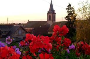 Eglise pendant au soleil couchant avec des fleurs rouges en premier plan