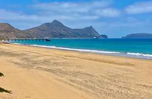 La plage de sable de Porto Santo