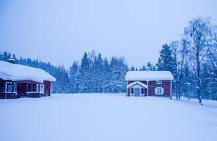 Maison finlandaises en bois l'hiver