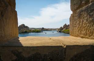 Vue sur le Nil depuis le temple de Philae