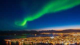 Aurores boréales à Tromso, Norvège, Laponie