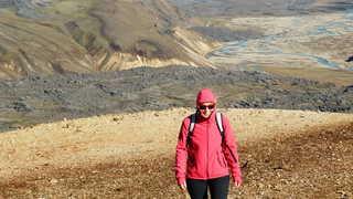 Cécile sur le volcan Hekla en Islande