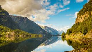L'été dans le Hardanger Fjord à côté de Trolltunga, Norvège