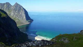 Plag de Kvalvika, îles Lofoten, Norvège
