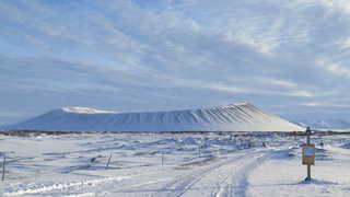 Volcan Krafla sous la neige, Islande