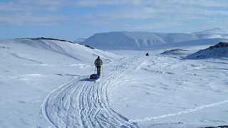 Expédition ski pulka sur la glace arctique
