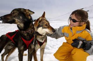 Enfant caressant un Husky dans la neige