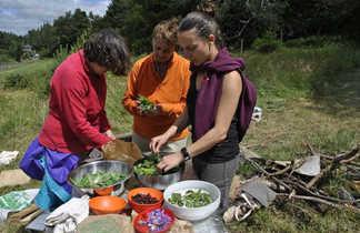 Auvergne, péparation de repas à base de plantes sauvages