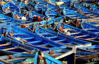 Barques bleues dans le port d'Essaouira, Maroc