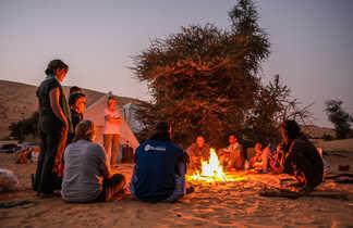 Bivouac autour du feu, Mauritanie
