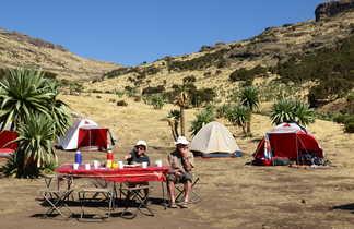 Camp dans le massif du Simien en Ethiopie