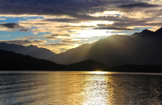 Coucher de soleil sur les Fjords de Te Anau