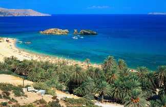 Crete, palmeraie et plage de Vaï