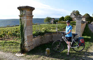 Cycliste devant une domaine de vigne en bourgogne sud