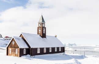 Eglise d'Ilulissat au Groenland l'hiver