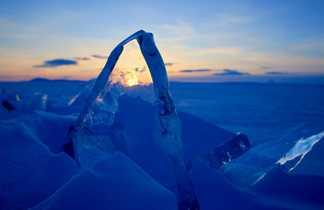 Glace du lac baikal, Sibérie, Russie