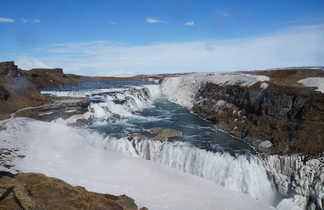 Chute d'eau Gullfoss en hiver, voyage en Islande