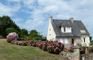 maison typique bretonne et son jardin fleuri