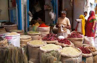 Marchands d'épices à Bikaner, Rajasthan