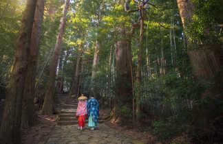 Marche et méditation en forêt de japonais en kimono