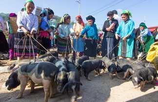 Marché ethnique dans les régions montagneuses du nord Vietnam