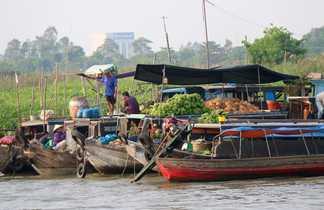 Marché flottant du Long Xuyen, Croisière delta du Mékong, Vietnam