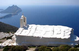 Visite de monastère lors d'une rando, Amorgos, Cyclades