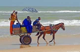 Population locale sur une plage du sénégal