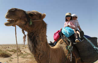 Randonnée chamelière famille au Maroc