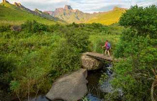 Randonneur sur un pont dans le Drakensberg
