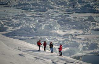Randonneurs en raquettes face à l'Icefjord, Groenland