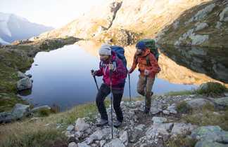 Randonneurs Lac Tour du Mont-Blanc