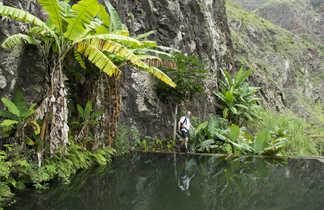 Réserve d'eau pour l'irrigation et luxuriance de Santo Antao