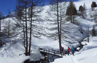 Traversée d'un petit pont en raquettes, Queyras, Alpes du sud