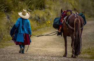 Une femme et son cheval sur un chemin dans la région de Cajamarca au Pérou