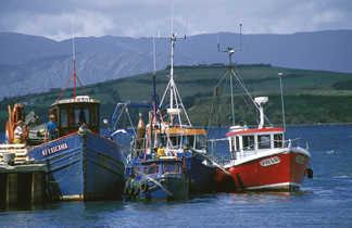 Vue sur des bateaux de pêche en Irlande