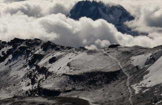 Vue sur le Mawenzi et Stella Point depuis Uhuru Peak