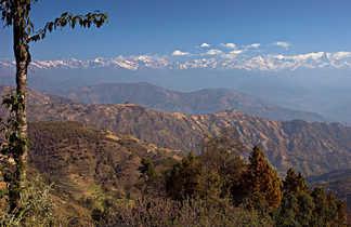 Vue sur l'Himalaya depuis la région de l'Helambu