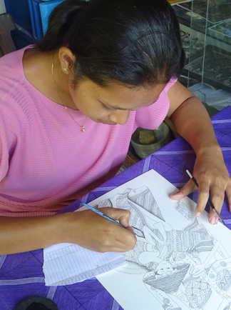 Cours de dessin à Ubud en Indonésie