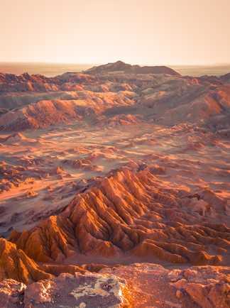La Vallée de Lune en fin de journée, tout proche de San Pedro de Atacama